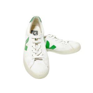 VEJA Esplar White Canvas Sneakers Green Logo Size 5